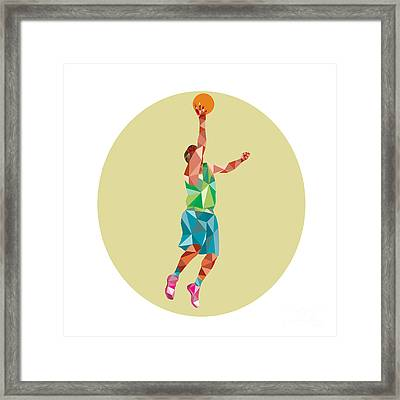 Basketball Player Lay Up Rebounding Ball Low Polygon Framed Print by Aloysius Patrimonio
