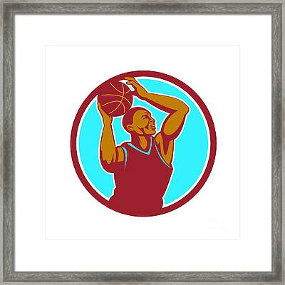 Basketball Player Rebounding Ball Circle Retro Framed Print by Aloysius Patrimonio