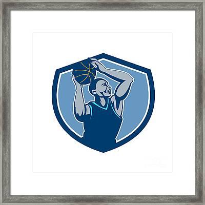 Basketball Player Rebounding Ball Crest Retro Framed Print by Aloysius Patrimonio