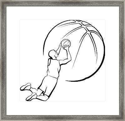 Basketball Player Shooting Framed Print by Munrotoo