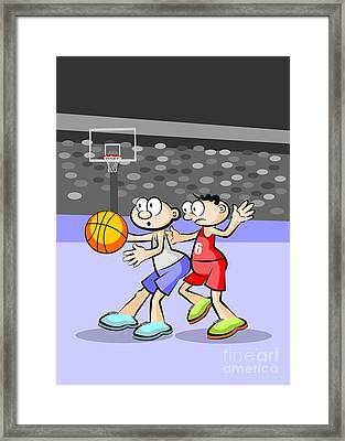 Basketball Players Fighting For Possession Of The Ball Framed Print
