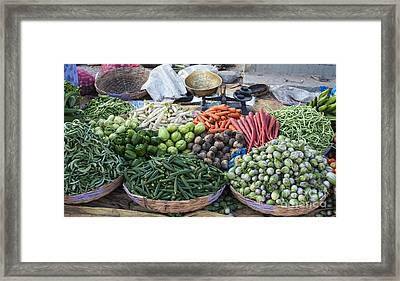 Baskets Of Produce Framed Print