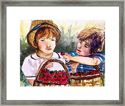Baskets Of Strawberries Framed Print by M L Borges