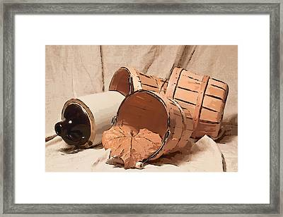 Baskets With Crock II Framed Print by Tom Mc Nemar