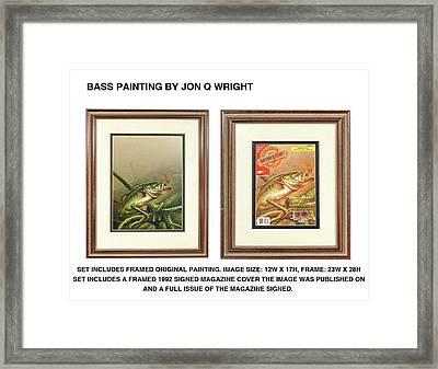 Bass And Log Framed Print by Jon Q Wright