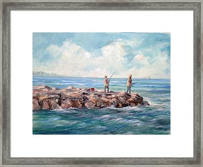 Bass Fishing Off Newport Framed Print