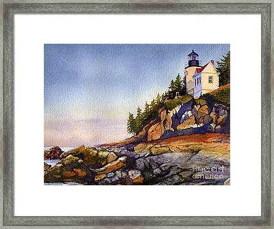 Bass Harbor Head Light Framed Print by Heidi Gallo