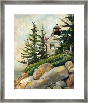 Bass Harbor Head Lighthouse Framed Print by Eve  Wheeler