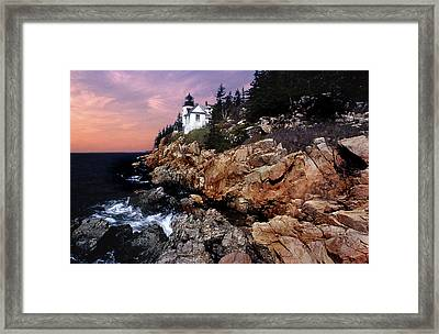 Bass Harbor Head Lighthouse In Maine Framed Print