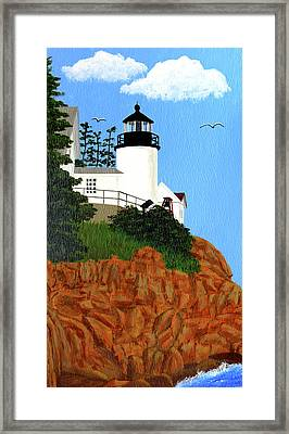 Bass Harbor Head Lighthouse Painting Framed Print by Frederic Kohli