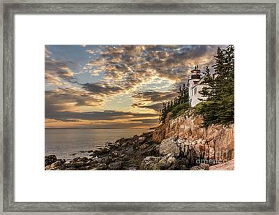 Bass Harbor Head Lighthouse Sunset Framed Print