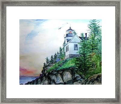 Bass Harbor Light Framed Print by Ron Stephens