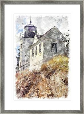Bass Harbor Light Wc Framed Print by Peter J Sucy