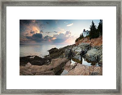 Bass Harbor Lighthouse At Dusk Framed Print
