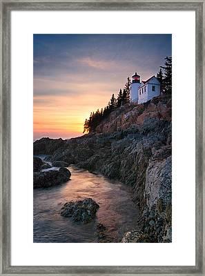 Bass Harbor Lighthouse At Sunset Framed Print by Darylann Leonard Photography