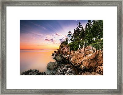 Bass Harbor Lighthouse Sunset Framed Print
