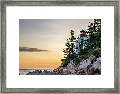 Bass Harbor Lighthouse Susnet  Framed Print