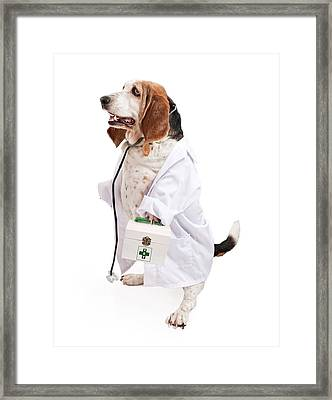 Basset Hound Dog Dressed As A Veterinarian Framed Print by Susan Schmitz