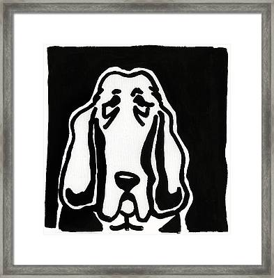 Basset Hound Ink Sketch Framed Print by Leanne WILKES