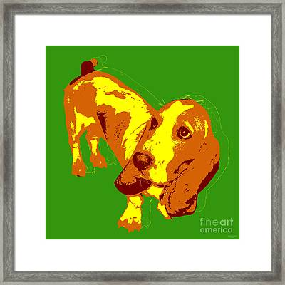 Framed Print featuring the digital art Basset Hound Pop Art by Jean luc Comperat