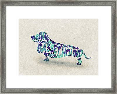 Basset Hound Watercolor Painting / Typographic Art Framed Print