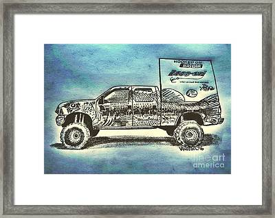 Basszilla Monster Truck - Abstract Background Framed Print by Scott D Van Osdol