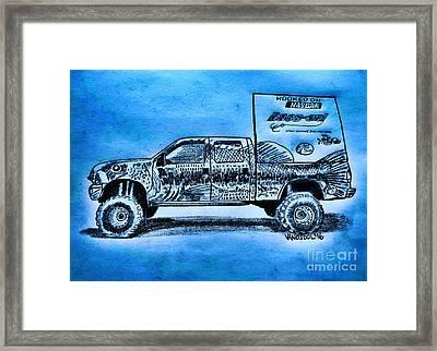 Basszilla Monster Truck - Blue Glow Background Framed Print by Scott D Van Osdol