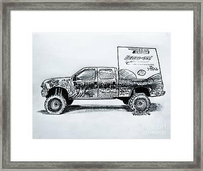 Basszilla Monster Truck - Graphite Pencil Framed Print by Scott D Van Osdol