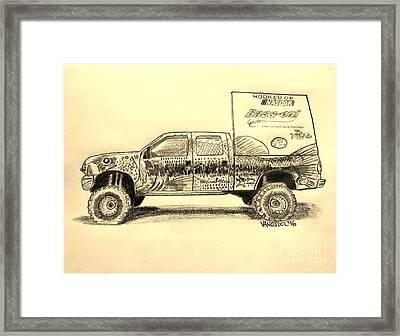 Basszilla Monster Truck - Sepia Framed Print by Scott D Van Osdol