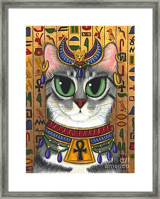 Framed Print featuring the painting Bast Goddess - Egyptian Bastet by Carrie Hawks
