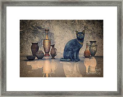 Bastet And Pottery Framed Print by Jutta Maria Pusl