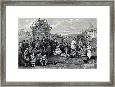 Bastinado, China, 19th Century Framed Print