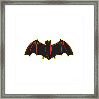 Bat Spread Wing Woodcut Framed Print