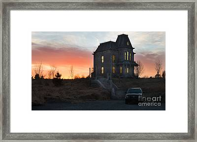 Bates Motel At Night Framed Print by Jim  Hatch