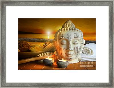 Bath Accessories With Buddha Statue At Sunset Framed Print by Sandra Cunningham