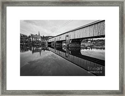 Bath Covered Bridge New Hampshire Black And White Framed Print by Edward Fielding