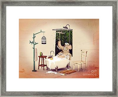 Framed Print featuring the digital art Bath Time by Methune Hively