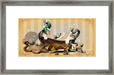 Bath Time With Otto Framed Print by Brian Kesinger