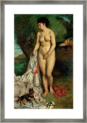 Bather With A Griffon Dog Framed Print