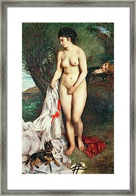 Bather With A Griffon Dog Framed Print by Pierrre Auguste Renoir
