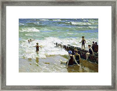 Bathers At Breakwater Framed Print