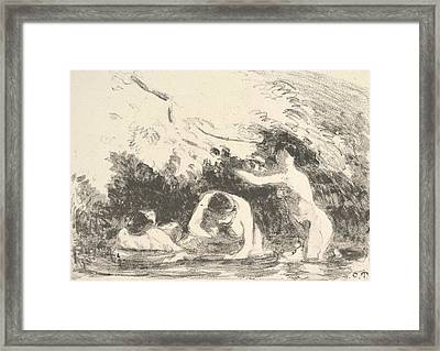 Bathers In The Shade Of Wooded Banks Framed Print by Camille Pissarro