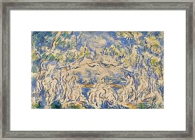 Bathers. Mont Sainte-victoire In The Background Framed Print