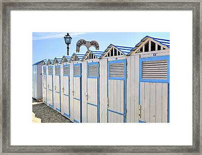 Bathhouses In The Mediterranean Framed Print by Joana Kruse