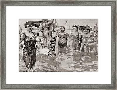 Bathing Acquaintances In The 19th Framed Print by Vintage Design Pics