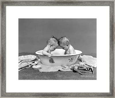 Bathing Babies, 1930s Framed Print by H. Armstrong Roberts/ClassicStock