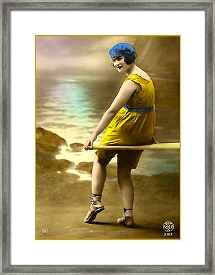 Bathing Beauty In Yellow  Bathing Suit Framed Print