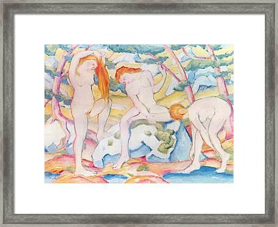 Bathing Girls Framed Print by Franz Marc