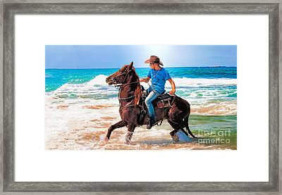 Bathing In The Sea Horse Framed Print by Benjamin Gelman