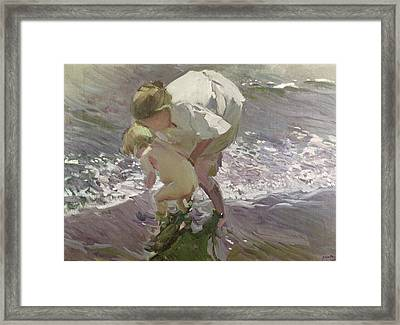 Bathing On The Beach Framed Print by Joaquin Sorolla y Bastida